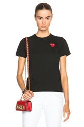 Comme Des Garcons Play Jersey Red Emblem Tee In Black
