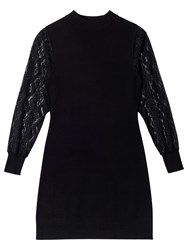 Precis Petite Alyssa Knit Lace Sleeveless Dress Black