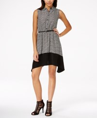 Amy Byer Bcx Juniors' Printed Colorblock Shirtdress With Belt Multi