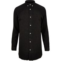 River Island Mens Black Washed Raw Hem Longline Denim Shirt