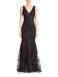 David Meister Embellished Lace Mermaid Gown Black