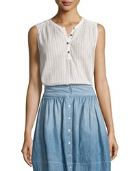 Current Elliott The Camila Sleeveless Henley Top Dirty White Dashwood Veil Women's