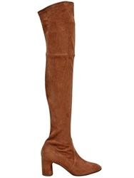 Casadei 60Mm Stretch Suede Over The Knee Boots