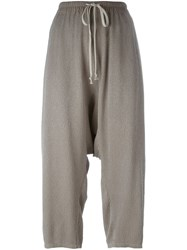 Rick Owens Textured Cropped Trousers Nude And Neutrals