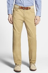 Men's Peter Millar Stretch Sateen Five Pocket Pants Brown Khaki