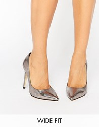 Faith Wide Fit Cliff Pewter Metallic Cut Out Court Shoes Pewter Metallic Silver
