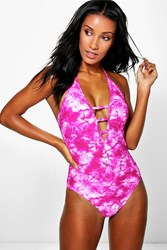 Boohoo Deep Plunge Tie Dye Strappy Swimsuit Pink