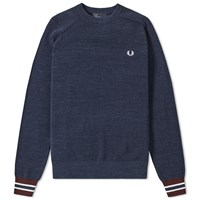 Fred Perry Textured Pique Crew Sweat Blue