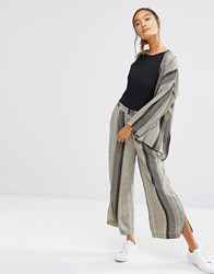 First And I Printed Wide Leg Trousers Olive Print Green