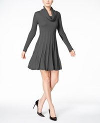 Calvin Klein Cowl Neck Fit And Flare Sweater Dress Charcoal
