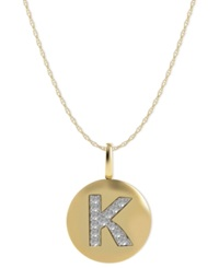 Macy's 14K Gold Necklace Diamond Accent Letter K Disk Pendant