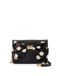 Betsey Johnson Oh Bow Sequined Wallet On Chain Black Crea
