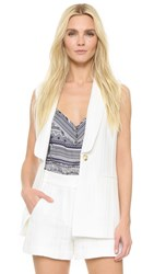 Veronica Beard Lucia Long And Lean Lapel Vest White