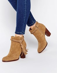 Faith Suzie Tan Tassel Suede Ankle Boots Tan