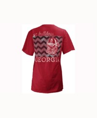 Pressbox Women's Georgia Bulldogs Blocked Chevron V Big T Shirt Red