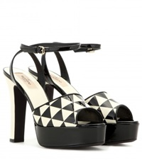 Valentino Shiny Fever Patent Leather Sandals Black