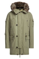Yves Salomon Cotton Parka With Fur Trimmed Hood Green
