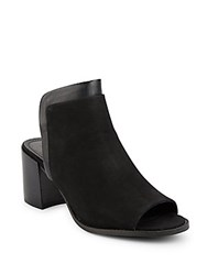 Kenneth Cole Saul Suede And Leather Peep Toe Mule Sandals Black