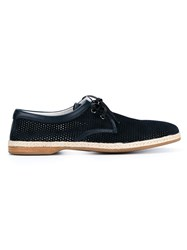 Dolce And Gabbana Perforated Suede Lace Up Espadrilles Blue
