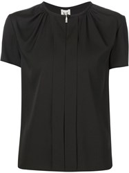 Carolina Herrera Front Pleat Shortsleeve Top Black