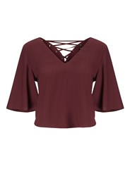 Miss Selfridge Burgundy Lace Up Back Tee Red