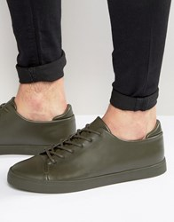 Asos Lace Up Trainers In Khaki With Toe Cap Khaki Green