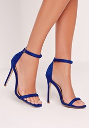 Missguided Rounded Strap Barely There Sandal Cobalt Blue Blue