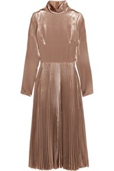 Valentino Pleated Velvet Turtleneck Midi Dress Mushroom