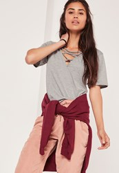 Missguided Lace Up Detail V Neck T Shirt Grey Grey