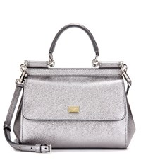 Dolce And Gabbana Miss Sicily Small Metallic Leather Shoulder Bag Silver