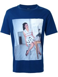Christian Dada 'Girl' Print T Shirt Blue