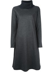 Fabiana Filippi Ribbed Roll Neck Shift Dress Grey