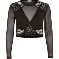 River Island Womens Black Mesh Lace Crop Top