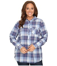 Columbia Plus Size Coral Springs Ii Woven Long Sleeve Shirt Bluebell Plaid Women's Long Sleeve Button Up