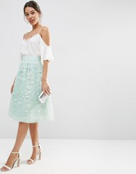 Asos Midi Embellished Prom Skirt Ice Mint Green
