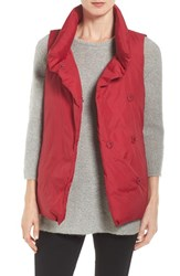 Eileen Fisher Women's Weather Resistant Stand Collar Down Vest China Red