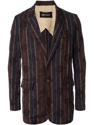 Uma Wang Floral Jacquard Striped Blazer Brown