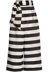Paper London Electric Striped Silk Organza Wide Leg Pants Black