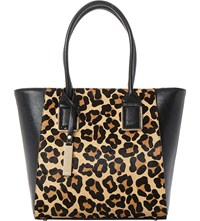Dune Leopard Print Shopper Bag Leopard Leather