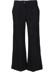 Raquel Allegra Cropped Flared Trousers Black