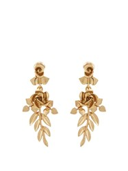 Oscar De La Renta Gold Plated Rose Drop Clip On Earrings