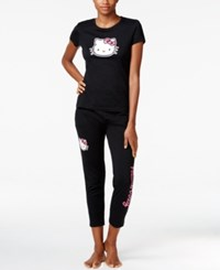 Hello Kitty Back 2 Basics Short Sleeve Top And Jogger Set