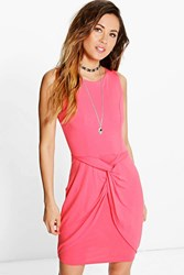 Boohoo Knot Front Wrap Bodycon Dress Coral