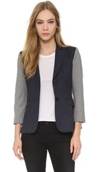 Atm Anthony Thomas Melillo Square Front Sport Blazer Navy Grey