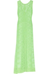 Miguelina Leslie Crocheted Cotton Lace Maxi Dress Green
