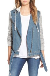Tinsel Women's Denim Moto Jacket With Knit Sleeves