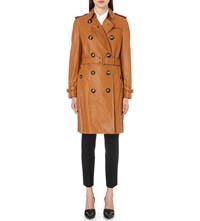 Burberry Kensington Leather Trench Coat Antique Gold