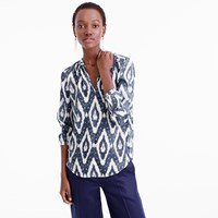 J.Crew Collection Long Sleeve V Neck Top In Ikat