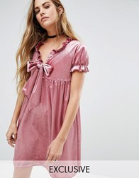 Reclaimed Vintage Velvet Smock Dress With Bow And Ruffle Detail Pink