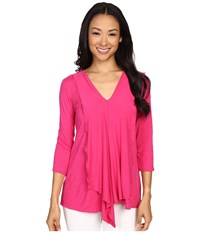 Miraclebody Jeans Cerise Asymmetric Top W Body Shaping Inner Shell Fuchsia Women's T Shirt Pink